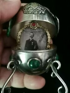 ANTIQUE IMPERIAL RUSSIAN 84 SILVER EASTER EGG  19th C. MALACHITE STONE