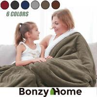 Bed Rug Flannel Fleece Blanket Sherpa Long Fur Throw Twin Queen Soft Plush