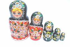 Russian Hand Painted Red Nesting Dolls Set of 5 Matryoshka, Artist signed