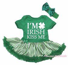 I'M IRISH KISS ME Clover St Patrick Green Bodysuit Striped Baby Dress Set NB-18M