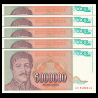 Lot 5 PCS, Yugoslavia 5000000 5,000,000 Dinara, 1993, P-132, UNC
