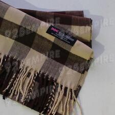 Women 100% CASHMERE Brown Square check tartan Plaid Scarf MADE IN SCOTLAND