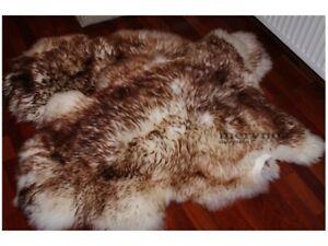 Real White Brown sheepskin rug natural soft carpet 100% genuine fluffy wool