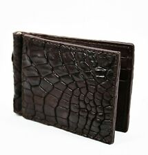 Real Dark Brown Crocodile Alligator Leather skin Mens Money clip Wallet.