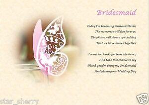 Bridesmaid Gift -  laminated poem A4
