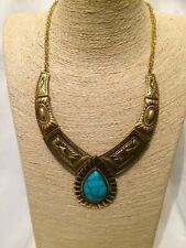 Womens STATEMENT Long Big Large Gold Aqua Stone Chain Chunky Necklace Vintage