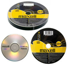 GENUINE MAXELL 10 X CD-R BLANK RECORDABLE DISCS CDs MEDIA BLANK DISKS 52X SPEED