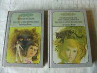 Nancy Drew Lot of 2 purple lilac VTG books Carolyn Keene Haunted Bridge Quest