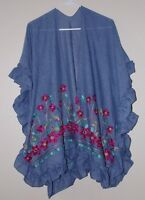 Blue Ruana Shawl Wrap Open Front Embroidered Flowers Ruffles NEW
