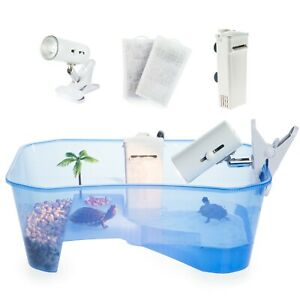 Turtle Tank Starter Kit Terrarium Includes Accessories with Light and Filter