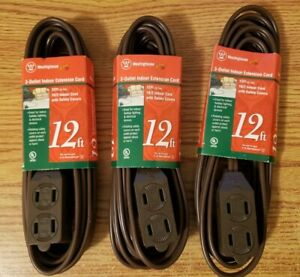 Extension Cords Indoor Set of 3 Brown 12 foot 3 plug 28154 384