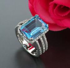 diamante topazio blu Anello totale 10,18 carati argento 925 VALORE NUOVO (38411)
