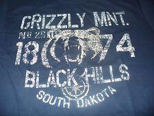 Grizzly Bear  Men's SK South Dakota Black Hills Hunting Blue T-Shirt Size Large