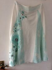 COAST WHITE AND MINT GREEN LINEN FULL SKIRT WITH EMBROIDERED FLOWERS UK 10