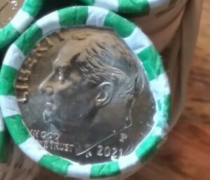 (1 Roll) 2021 -P Roosevelt Dime Roll - BU Uncirculated H/H & T/T