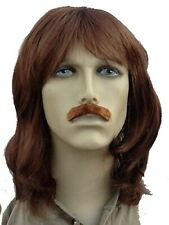 Men's Long (Shoulder) Brown Fancy Dress Wig and Staight Moustache Set