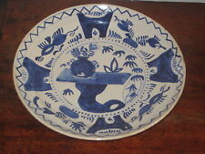 PROBABLY 19TH CENTURY DELFT PLATE ORIENTAL INSPIRED DESIGN