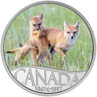2017 $10 FINE SILVER COIN CELEBRATING CANADA'S 150TH: WILD SWIFT FOX AND PUPS