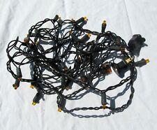 Halloween Decor String of Plain Orange Christmas Tree Lights w/ Black Wire