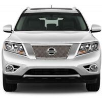 Fits Nissan Pathfinder 2013-2016 Chrome ABS Top Mesh Grille Overlay Insert