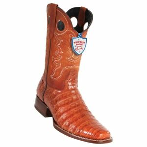 Men's Wild West Genuine Caiman Belly Western Boots Rodeo Square Toe Leather Sole