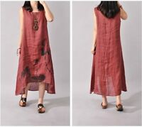 Wine Red Vintage Print Linen Dress