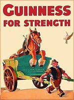 Guinness Beer for Strength Ireland Great Britain Vintage Travel Art Poster