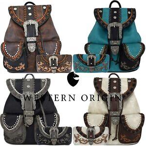 Western Style Tooled Buckle Country Backpack Women School Bag Biker Purse Wallet