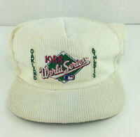 VTG 1988 World Series Oakland Athletics Baseball Cap Snapback Hat Corduroy White