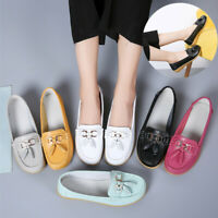 Women's Real Leather Flats Loafers Comfort Office Casual Walking Moccasin Shoes