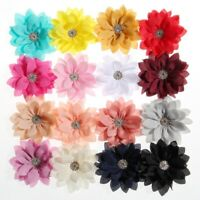 20PCS 8.5CM 3.4inch Newborn Lotus Leaf Flowers With Rhinestone For Headband