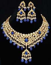 ESTATE MOGHUL TANZANITE PEARL DIAMOND ENAMEL 22K 18K GOLD NECKLACE EARRING SET