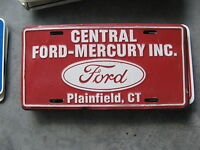 CENTRAL FORD MERCURY PLAINFIELD CONNECTICUT CT DEALERSHIP BOOSTER LICENSE PLATE