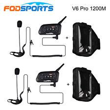2x V6 1200M Bluetooth Intercom for Football Referee Judge/Bikers + Arm Strap Bag