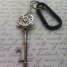 New Silver Antique Skeleton Key Bottle Opener Black Carabiner Keychain Clip Gift