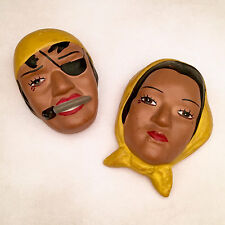 Pair of Kitsch Chalkware/Plaster Head Plaques Pirate & Wench Nyes Art Studio