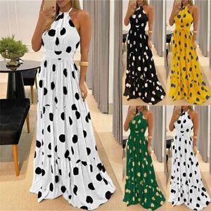 Womens Summer Polka Dot Long Maxi Dress Sundress Plus Size Holiday Party Dresses