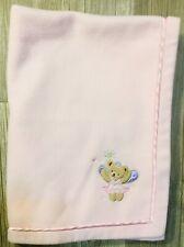 KidsLine Snuggle Baby Girl Pink Baby Blanket Fleece Princess Bear Satin GUC K3