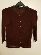 F&F - Ladies Womens Girls Stunning Burgundy Sleeved Cardigan Top Size 14