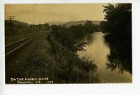 Railroad Tracks on the Hoosic River RPPC Pownal VT Antique Photo ca. 1910s
