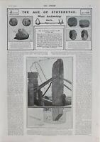 1902 PRINT STONEHENGE ARCHEOLOGY FINDS IMPLEMENTS ORIGIN STONES