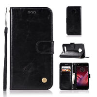 For Motorola Moto Z play Z2 Play PU Leather Case Wallet w/ Card Slots Flip Cover