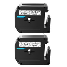 2pk Mk131 Black On Clear M K131 Label Tape For Brother P Touch Pt 110 Print 12