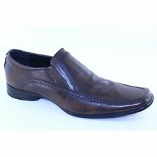Kenneth Cole Key Note Mens 12 M Brown Leather Solid Slip On Dress Loafers Shoes