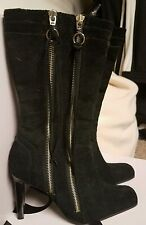 brand new mid calf black suede zip up boots size 7.5
