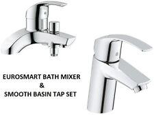 GROHE Eurosmart Bath Shower Mixer & Smooth Basin Mixer Tap 25105000 + 32467002