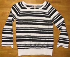Banana Republic Women's Black & White Striped Lightweight Sweater - Size: Small