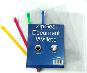 8 X New A5/A4 Zip Seal Document Clear Wallets Waterproof Bags Transparent School