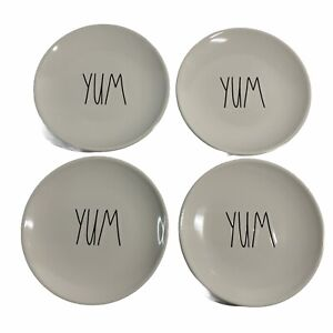 "Rae Dunn Collectible  ""YUM"" Set Of Four 6"" Round Plates"
