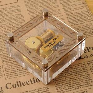 ACRYLIC CUBIC GOLD WIND UP MUSIC BOX  ♫ YESTERDAY @ BEATLES ♫